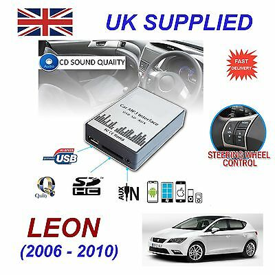 Seat LEON 06-10 MP3 SD USB CD AUX Input Audio Adapter Digital CD Changer Module