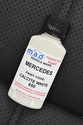 Mercedes Benz Calcite White 650 9650 Touch Up Kit Bottle Brush Repair Paint Chip