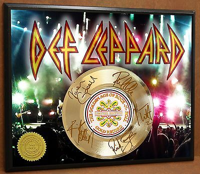 Def Leppard Ltd Edition Signature Laser Etched Poster Art Gold Record Display