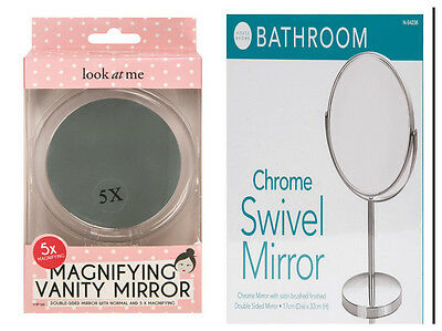 Double Sided Magnifying Make Up Cosmetic Shaving Mirror Table Free Standing