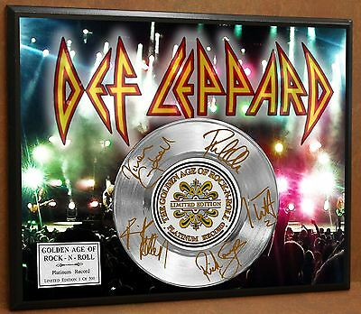 Def Leppard Limited Signature Laser Etched Poster Art Platinum Record Display V2