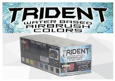 Trident 50Ml Water Based Airbrush Paint-Tru8 Set-9X50Ml+50Ml Reducer Spray Art