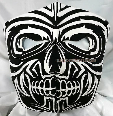 White Tribal Skull Motorcycle Biker Ski Snowmobile Neoprene Face Mask #1025