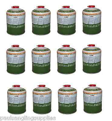 12 x 450g Camping / Fishing Gas Canisters - Cartridges - Refil Bottles Stove etc