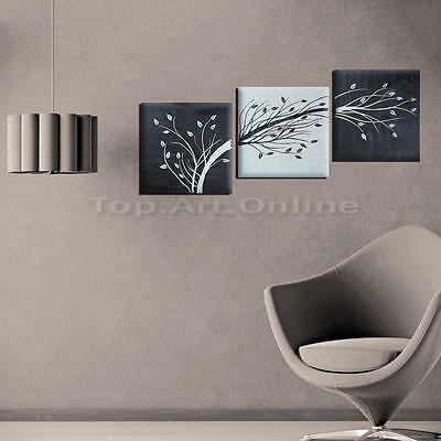 3pcs set peinture l 39 huile main tableau noir et blanc arbre sur canvas toile eur 18 79. Black Bedroom Furniture Sets. Home Design Ideas