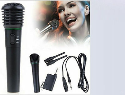 2in1 Handheld Karaoke Singing DJ System Wireless Cordless & Wired Microphone Mic