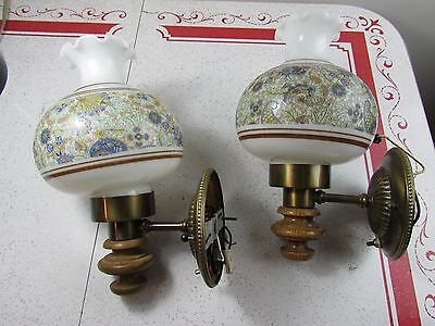 Vintage Wall Sconce Lamps Early American Glass Shades