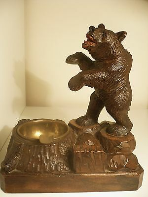 Antique BIG BEAR WOOD ASHTRAY Carved Black Forest Woodcarvings Decoration 19th