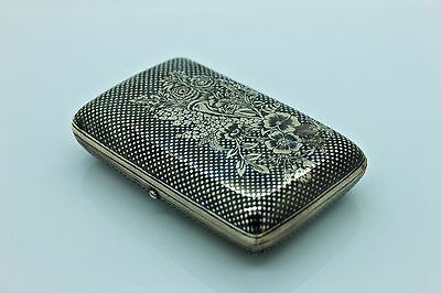 Antique Original Perfect Silver Niello Flowers Ottoman Decorated Amazing Box