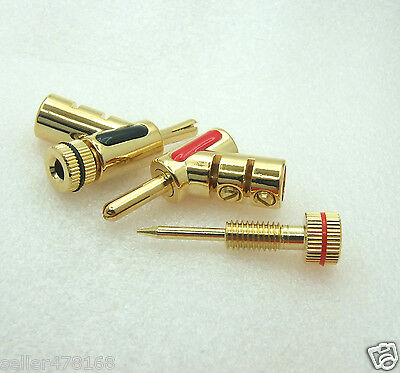 4PCS 24K Gold Plated 4mm Banana Plug Y- type lock for Speaker Cable BINDING POST