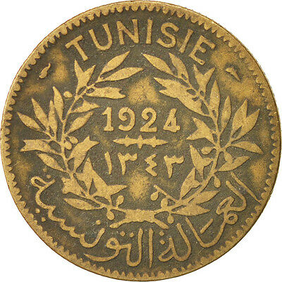 [#93723] Tunisia, 2 Francs, 1924, Paris, VF(20-25), Aluminum-Bronze, KM:248