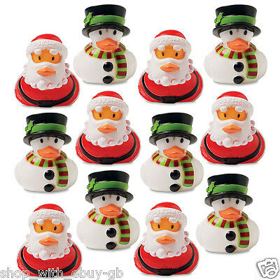 12 Christmas Rubber Ducks Secret Santa Xmas Duck Filler Floating Bath Toy Gift