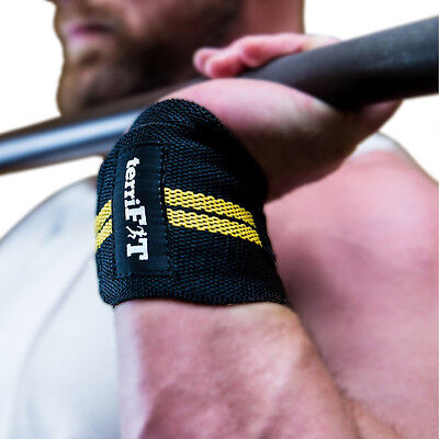terriFIT Heavy Duty CrossFit and Weight Lifting Wrist Wraps - Black/Yellow