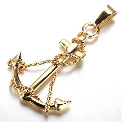 Mens Gothic Biker Stainless Steel Pendant Necklace, Anchor, Gold KR5641