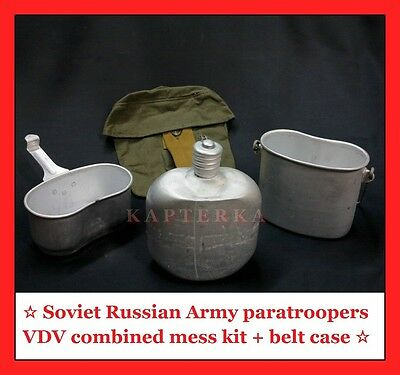 ☆ soviet russian army VDV paratroopers combined mess kit flask with belt case ☆