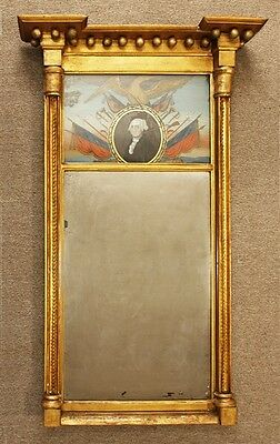 George Washington Federal Period Reverse Painted Glass Mirror Circa 1810
