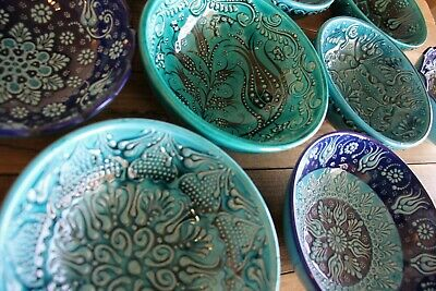 Turkish ceramic bowls - 16cm, handmade, hand painted Ottoman designs - decorativ