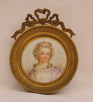 Magnificent 19C French Hand Painted On Porcelain Painting In A Dore Bronze Frame