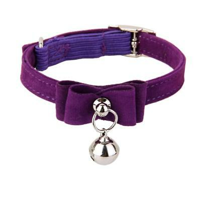 Cat Kitten Puppy Collar Adjustable Safety Buckle Neck Strap With Bell Purple