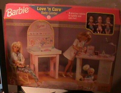 Barbie Love 'n Care Baby Center Playset w 3 Baby Dolls (1997 Arcotoys, Mattel