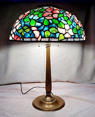 Antique Lct Tiffany Stained Glass Lamp Peony Shade, Colonial Bronze Base