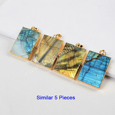 Clearance RANDOM 1 Pcs Natural Labradorite Faceted Pendant Gold Plated TG0496