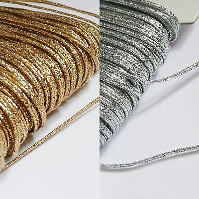 3mm Russia Braid (soutache cord) Silver or Gold metallic lurex - per 2m length