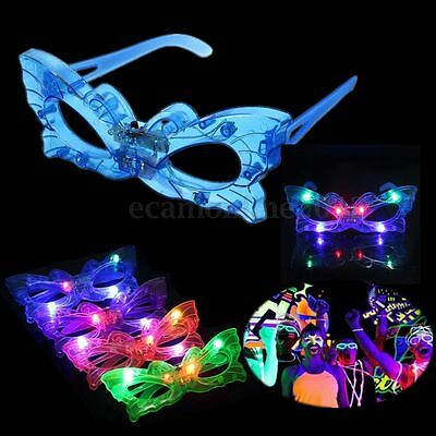 1/2/6x Butterfly Flashing Blinking 6 LED Light Up Glow Glasses Club Xmas Party