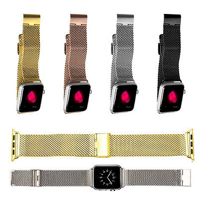 38mm Milanese Stainless Steel Band Strap + Adapters For Apple Watch iWatch Sport