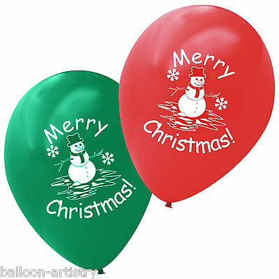 20 Merry Christmas Printed Red Green Latex Balloons SNOWMAN