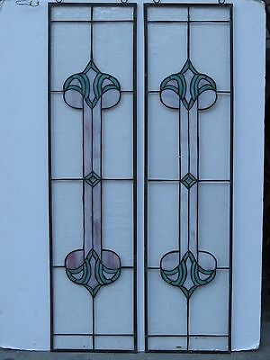Stained Glass Sidelights --- Pink / Green / Clear-- set of 2 #97
