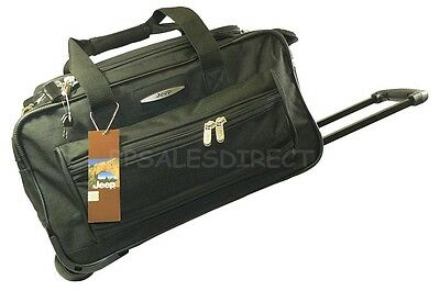 """18"""" Jeep Wheeled Travel Cabin Approved Trolley Bag Suitcase Hand Luggage Black"""
