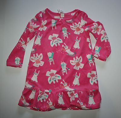 New Gymboree Outlet Girls Fleece Sleep Gown Pink Bunny Rabbit PJs NWT 4 Snow Fun
