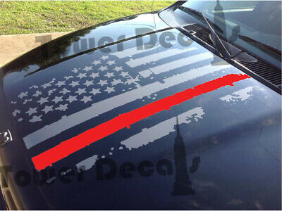 Distressed American Flag Thin Red Line Hood Decal Fire, Fits Jeeps and Trucks