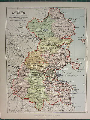 1885 Antique County Map Ireland ~ Dublin ~ Coolock Balrothery Nethercross