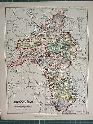 1885 Antique County Map Ireland ~ Roscommon ~ Castlereagh Ballymoe Frenchpark