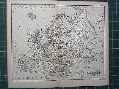 1887 Antique Map ~ Europe ~ British Isles Germany Italy Austria-Hungary Turkey