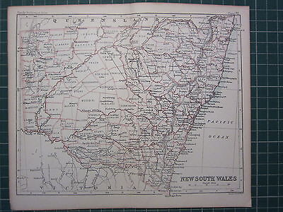 1887 Antique Map ~ New South Wales Sydney Cooper Boyd Port Macquarie