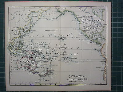 1887 Antique Map ~ Oceania & Pacific Ocean Polynesia Hawaii United States