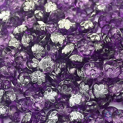 50pcs Round Resin Purple Flower Round Sewing Button Lots 12mm Craft DIY