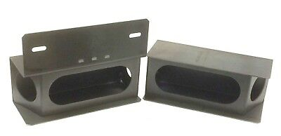 """Set of steel trailer 6"""" oval & angled 2"""" round light boxes w/license bracket"""