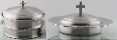 Holy Communion Tray Set with Lid & Bread Plate with Lid- Matte Finish(Brand New)