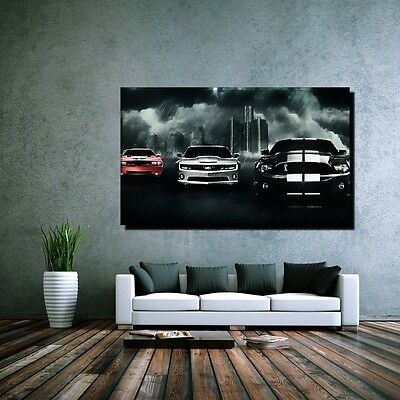 leinwand bild xxl pop art ford mustang chevrolet camaro. Black Bedroom Furniture Sets. Home Design Ideas