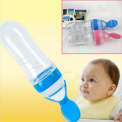Baby Toddler Food Cereal Bottle Feeding Spoon Silicone Squeeze Feeder Supplies