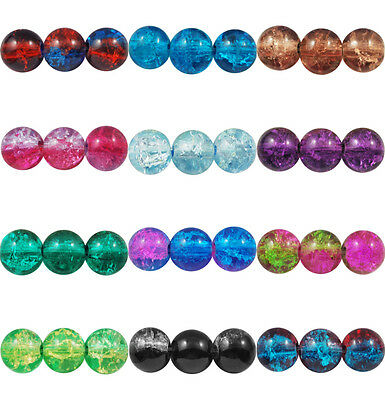 ❤ 4mm, 6mm, 8mm CRACKLE Glass ROUND Beads CHOOSE COLOUR UK Jewellery Making ❤