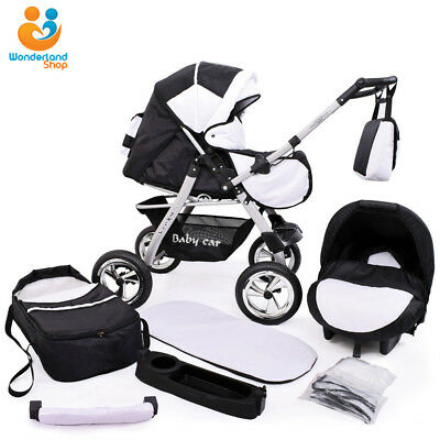 Pushchair + 3in1 + Car Seat + baby pram + stroller + Buggy Travel System 90cols