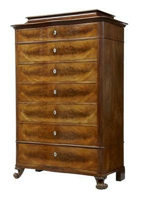 19Th Century French Mahogany Serpentine Tall Chest Of Drawers