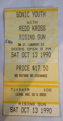 SONIC YOUTH & REDD KROSS-Ticket Stub-Foufounes Electrique-Montreal-Oct 13, 1990