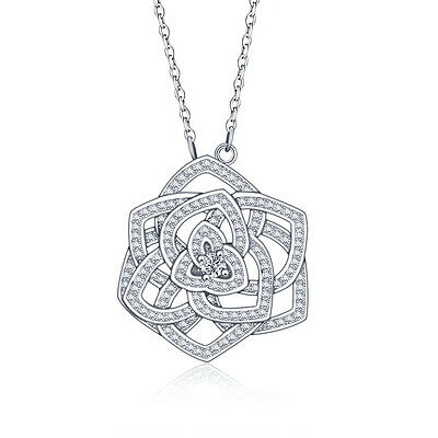 Lg Rose .925 Sterling Silver Cz Stone Pendant Necklace Chain Jewelry Gift Ss2062