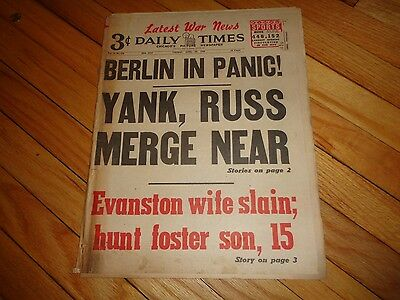 Chicago Daily Times Newspaper WWII April 24 1945 Berlin in Panic